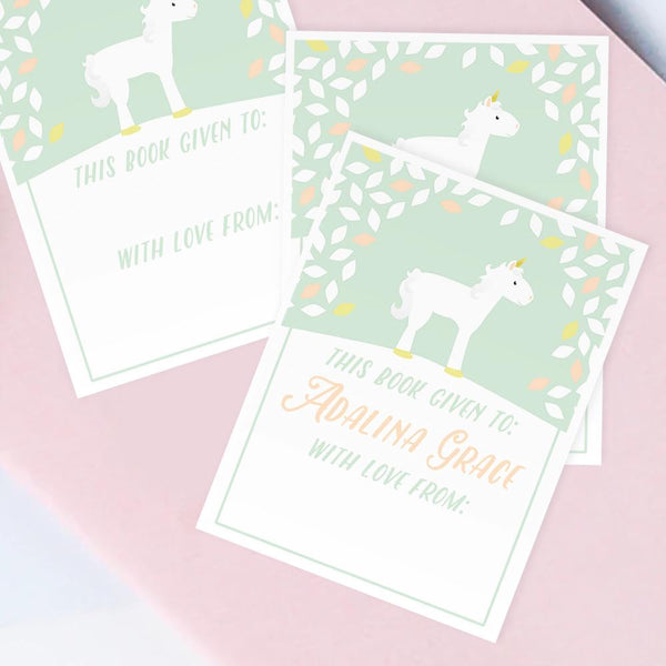 Custom Bookplates - Set of 12 Personalized Unicorn Book Labels