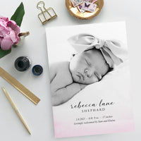 Birth Announcement - Pink Watercolor