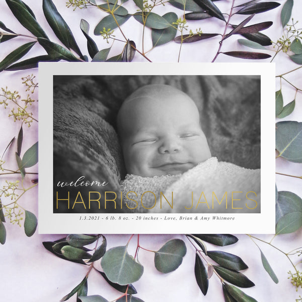 Birth Announcement - Welcome Gold Foil