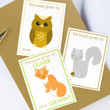 Custom Bookplates - Set of 12 Personalized Woodland Book Labels