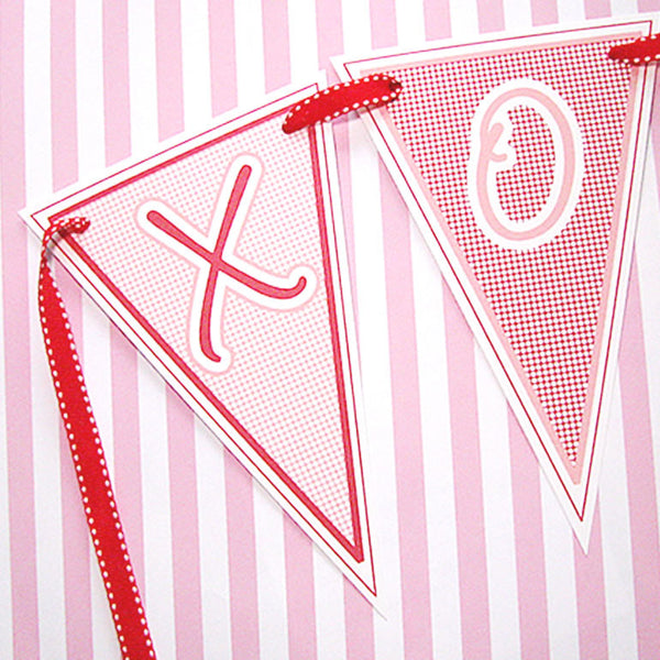 graphic relating to Valentine Banner Printable known as PRINTABLE Valentine Banner - XOXO