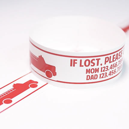 Custom Vinyl ID Bands - Set of 12 Firetruck Bracelets