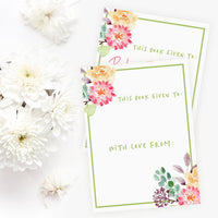 Custom Bookplates - Set of 12 Personalized Spring Garden Book Labels