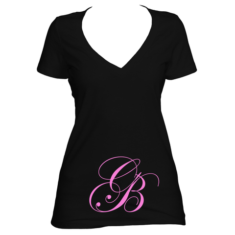 Black V neck women's short sleeve shirt
