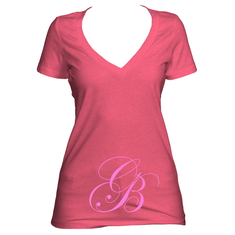 Lilac V neck women's short sleeve shirt