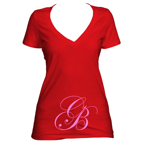 Red V neck women's short sleeve shirt