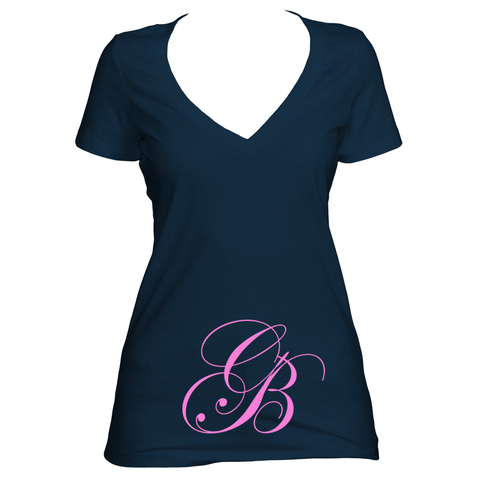 Midnight Navy V neck women's short sleeve shirt