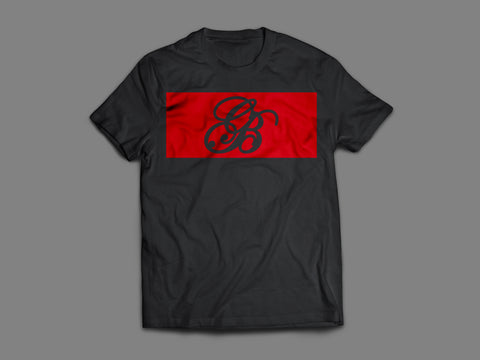 Designer Black and Red Signature logo T-shirt