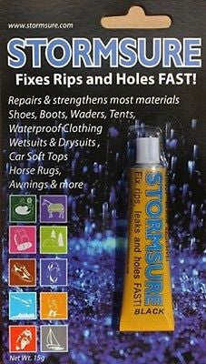 Stormsure BLACK repair adhesive glue 15g bottle to repair flexible material
