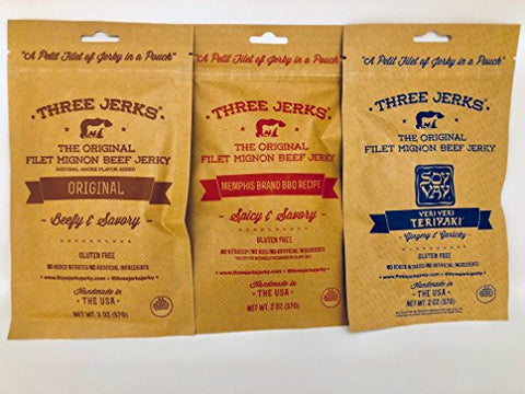 Three Jerks Jerky Original/Memphis Barbecue and Soy Vay Veri Teriyaki Combo