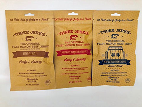 Three Jerks Jerky Original/Memphis Barbecue and Maple Bourbon Churro Combo