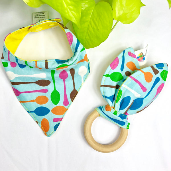 Spoons Bandana Bib & Teething Toy Set - Logically Unique