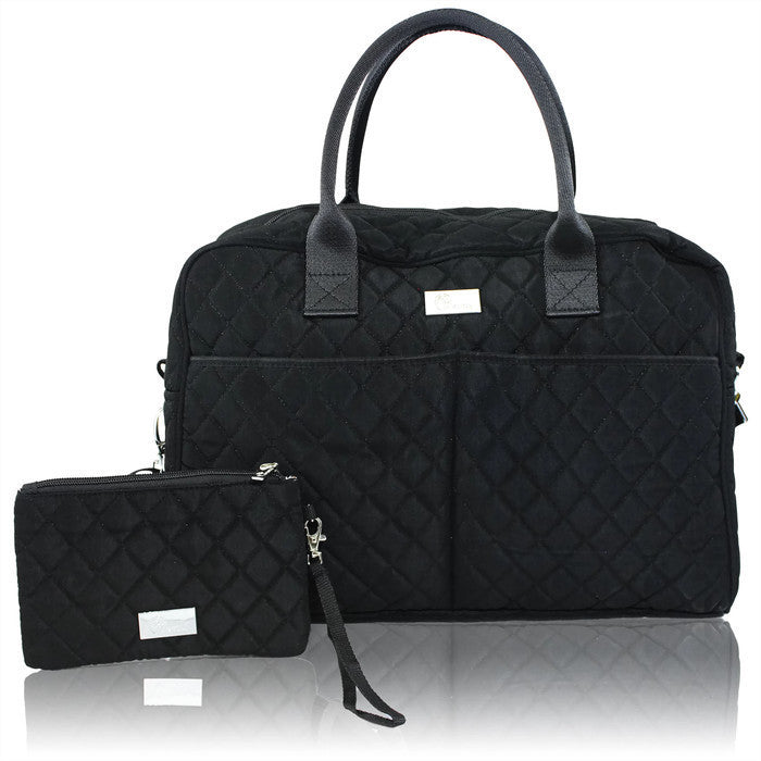 Pursetti Black Quilted Weekender Bag with Wristlet