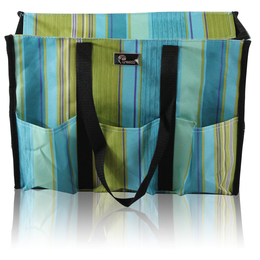 teal stripe utility tote bag for school supplies