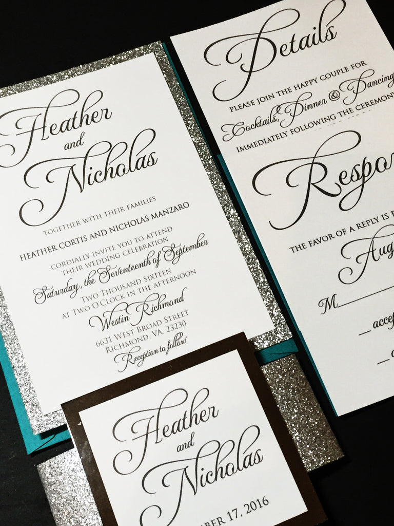 silver glitter and teal wedding invitation with response card and envelope