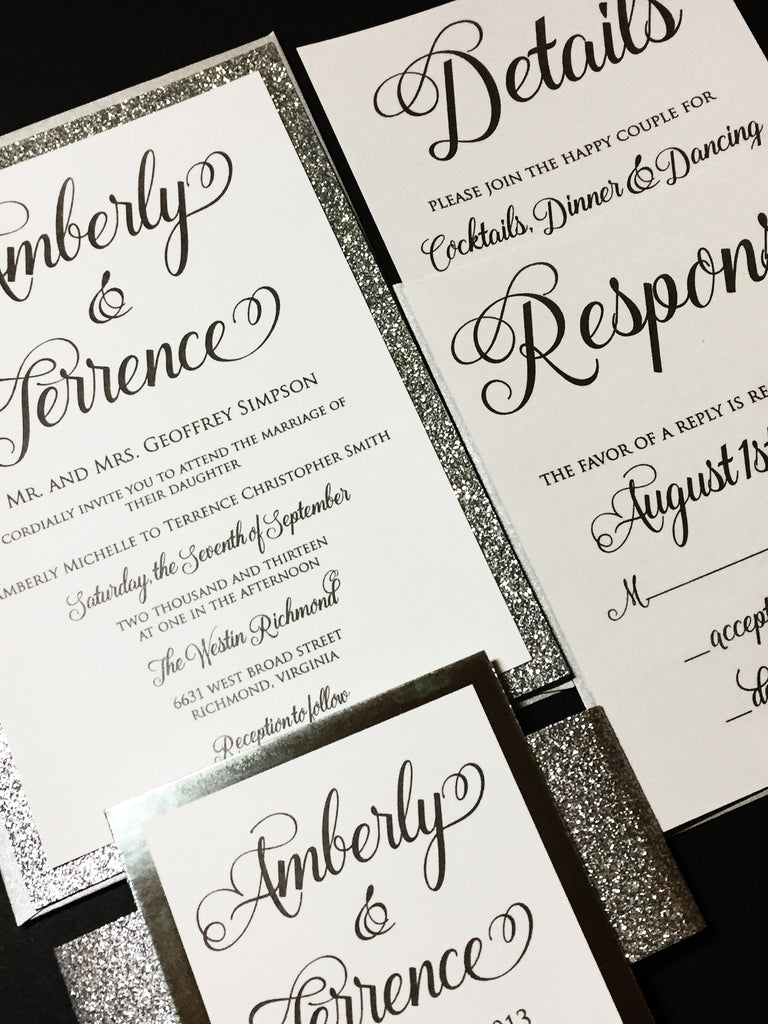 silver glitter and silver wedding invitation with response card and envelope