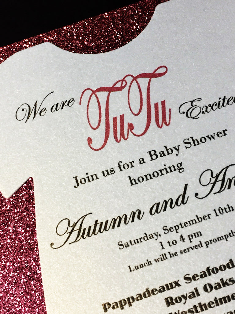 pink glitter onesie baby shower invitation