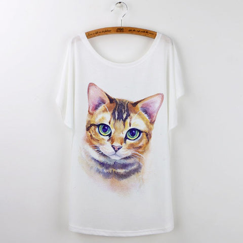 Cute Harajuku Cat Shirt for Women (Free Shipping)