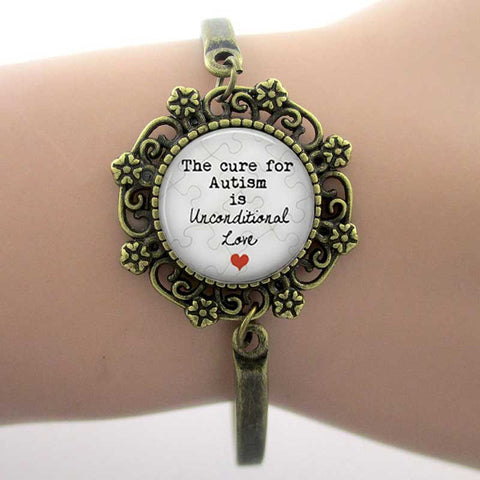 """THE CURE FOR AUTISM IS UNCONDITIONAL LOVE"" GLASS DOME LACE CHARM BRACELET - FREE PROMOTION"