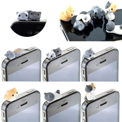 6 SMARTPHONE ANTI DUST CAT PLUGS RETAIL