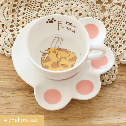 Cartoon Cat Mug Set