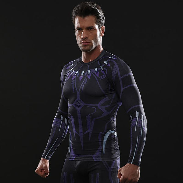 Avengers 3 BLACK PANTHER Long Sleeve Compression Shirt for Men