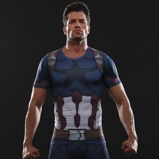 Avengers 3 CAPTAIN AMERICA Short Sleeve Compression Shirt for Men