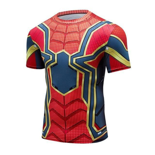 Avengers 3 IRON SPIDERMAN Short Sleeve Compression Shirt for Men
