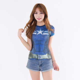 CAPTAIN AMERICA Compression Shirt for Women (Short Sleeve)