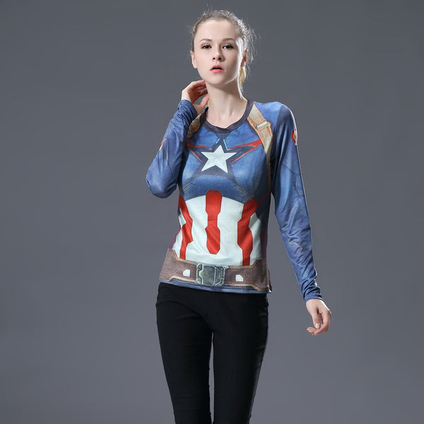 CAPTAIN AMERICA Long Sleeve Compression Shirt for Women