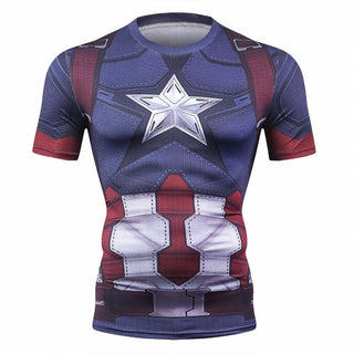 CAPTAIN AMERICA Short Sleeve Compression Shirt for Men