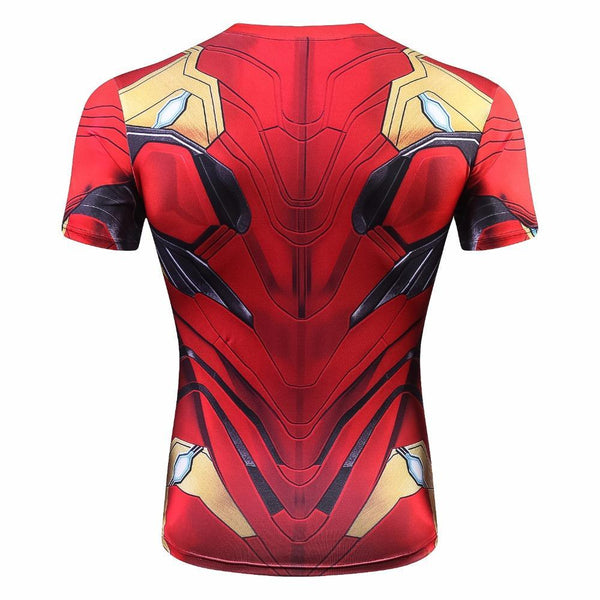 Comic IRON MAN Short Sleeve Compression Shirt for Men