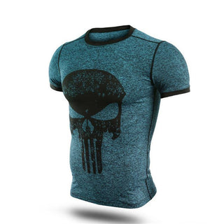 Dark Green PUNISHER Compression Shirt for Men (Short Sleeve)