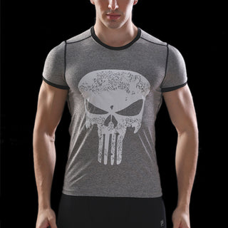 Gray PUNISHER Compression Shirt for Men (Short Sleeve)