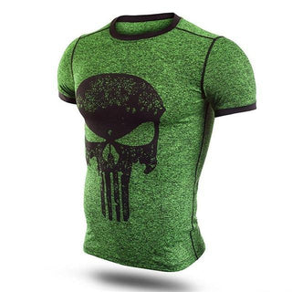 Green PUNISHER Compression Shirt for Men (Short Sleeve)