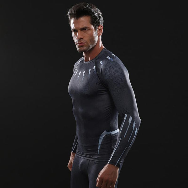 Infinity War BLACK PANTHER Long Sleeve Compression Shirt for Men