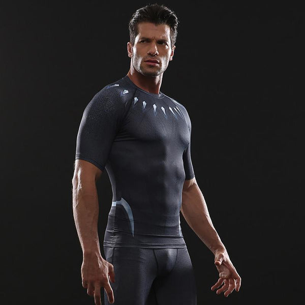 Infinity War BLACK PANTHER Short Sleeve Compression Shirt
