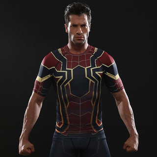 Infinity War SPIDERMAN Short Sleeve Compression Shirt for Men