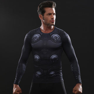 Infinity War THOR 3D Long Sleeve Compression Shirt for Men