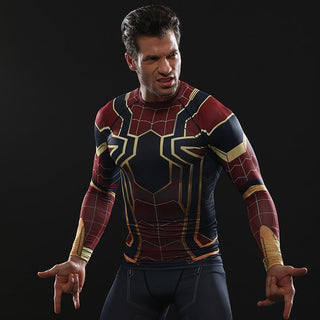 2ea59b9e Inifinity War SPIDERMAN Long Sleeve Compression Shirt for Men