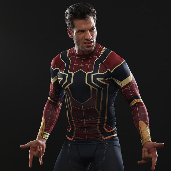 24f59269 ... Inifinity War SPIDERMAN Long Sleeve Compression Shirt for Men ...
