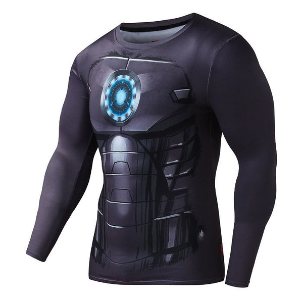 Long sleeve iron man compression shirt for men i am for Iron man shirt for men