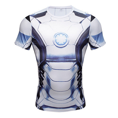 Iron man white compression shirt for men short sleeve for Iron man shirt for men
