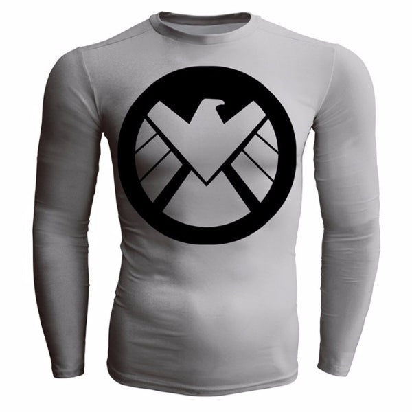 Long Sleeve CAPTAIN AMERICA Compression Shirt for Men