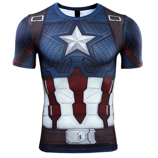 e4dc8fb1 Avengers 4 Endgame CAPTAIN AMERICA Short Sleeve Compression Shirt for Men