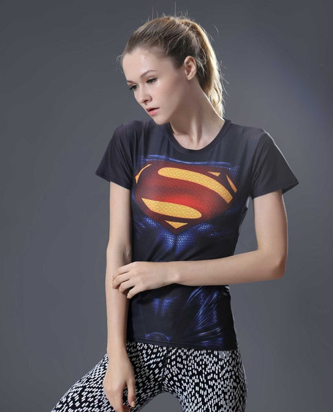 SUPERMAN Short Sleeve Compression Shirt for Women