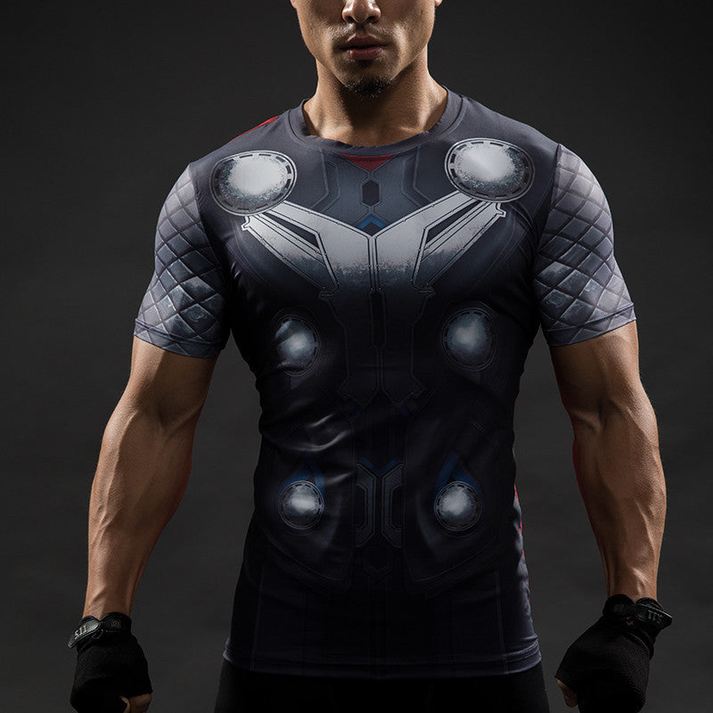 Thor compression shirt for men short sleeve i am superhero for Compressed promotional t shirts
