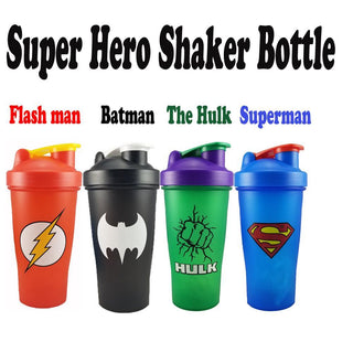 Unique SUPERHERO Fitness Shaker Bottles in 4 Hero Styles