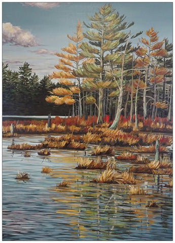 Boy Lake Wetlands Painting Postcard