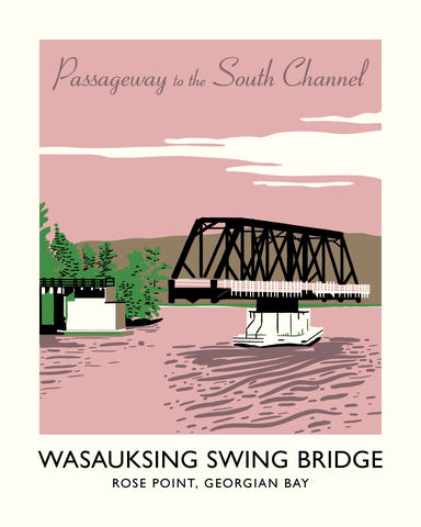 Wasauksing Swing Bridge Poster